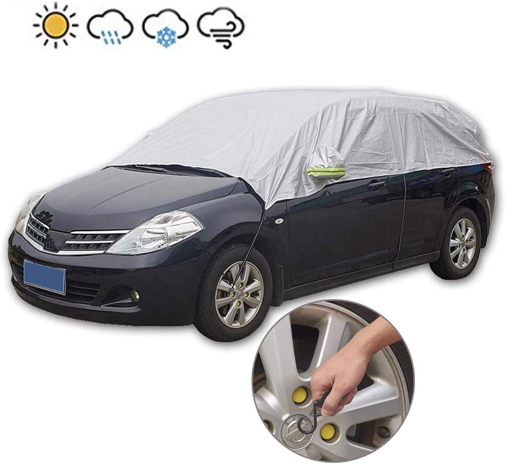 Weatherproof Frost Ice Snow UV Sun Dust Screen Protector Frost Protector for Cars Anti-Theft Tuck-in Flaps JSCARLIFE Windshield Snow Cover Compact and Mid-Size SUVs Without Mirror Covers