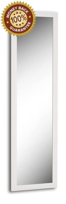 Over The Door / Wall Mounted Mirror   Easy To Hang (50, White)