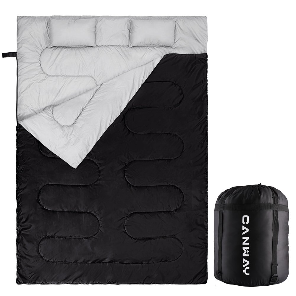 CanwayダブルSleepingバッグフランネルSleepingバッグwith 2枕をキャンプ、バックパッキング、またはハイキングアウトドア。2 Person防水Sleeping Bag for AdultsまたはTeens。クイーンサイズXL B079K6B2ZF  Polyester