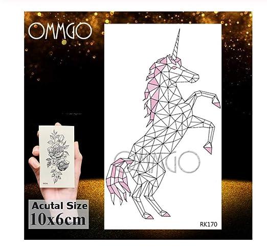 HYTGF Tatuaje Temporal Etiqueta engomada Unicornio geométrico ...