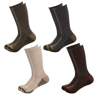 Timberland Men's 4 Pack Outdoor Leisure Crew Assorted Colors SIZE 10-13/9-12 (MULTI BROWN) at Men's Clothing store