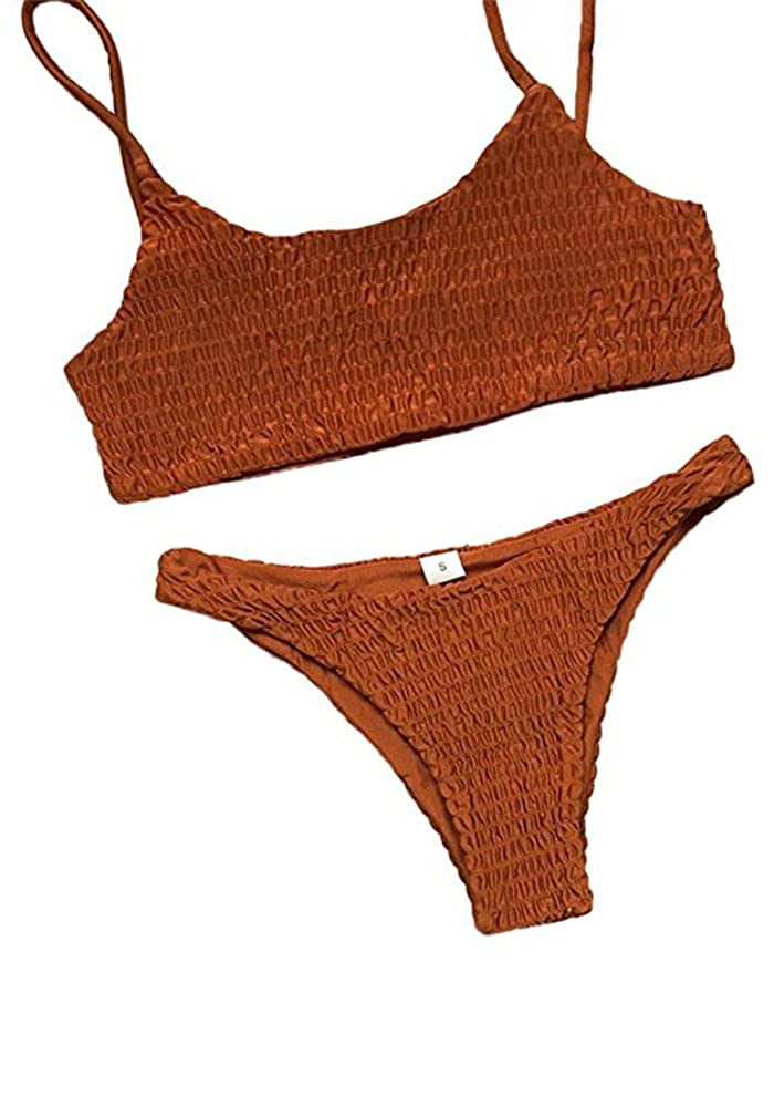 Caramel Colour LHAYY Womens Solid Padded Pleated 2 Piece Bikini Set Tankini Top Triangle Swimsuit