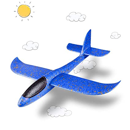 Hebrik Large Size 19 inch Foam Glider Airplane Outdoor Paper Plane Sports  Easy Assemble Manual Throwing Fun Challenging Toy Aerobatic Airplane Model