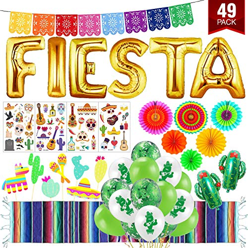 mexican birthday party decorations XXL 49pcs Fiesta Party Decoration final fiesta Cinco De Mayo Mexican Table Runner 9x1ft Mexican decor Fiesta decorations mexican party decorations