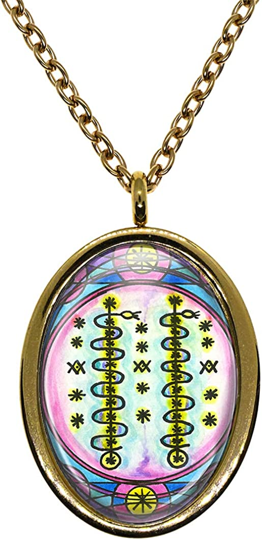 My Altar Damballah Wedo Veve Voodoo Magick for Fertility /& Manifestation Gold Stainless Steel Pendant Necklace