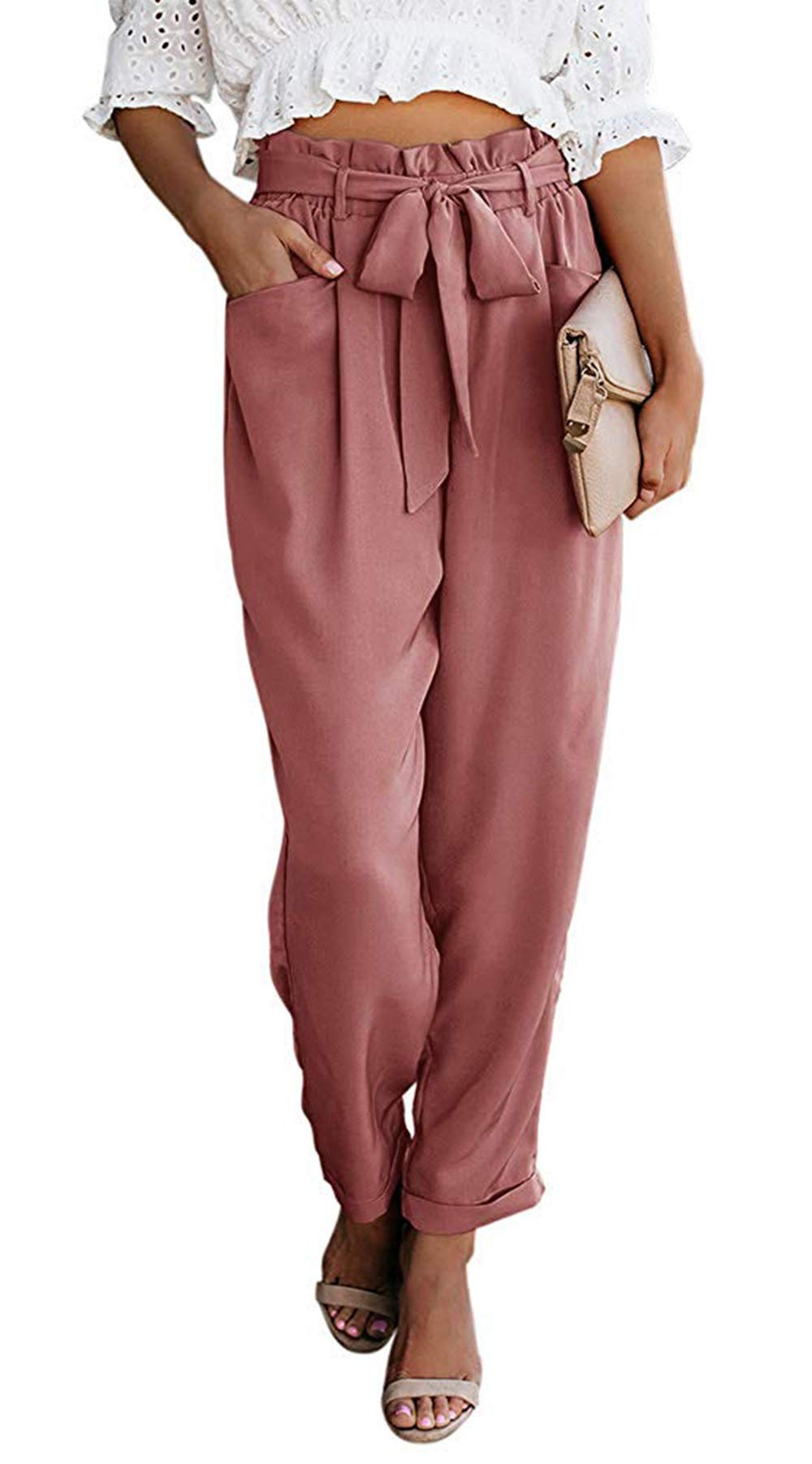NEWFANGLE Women Paper Bag Pants Elastic High Waist Slim Casual Long Pants Cropped with Pockets,Pink,XL