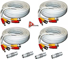 Black 2 Pack AceLevel Premium 100ft BNC Extension Cables for Zmodo Systems