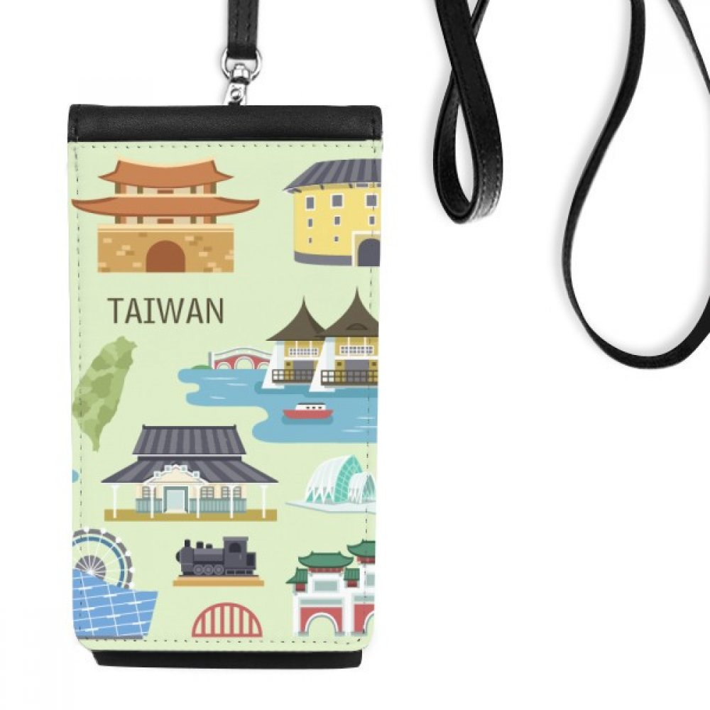 Taiwan Travel China Confucius Temple Faux Leather Smartphone Hanging Purse Black Phone Wallet Gift