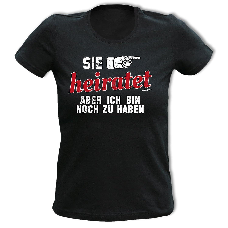 T-Shirt SIE HEIRATET Damenshirt Damen Apres Ski Funshirt lustiger Aufdruck Girlie Girl