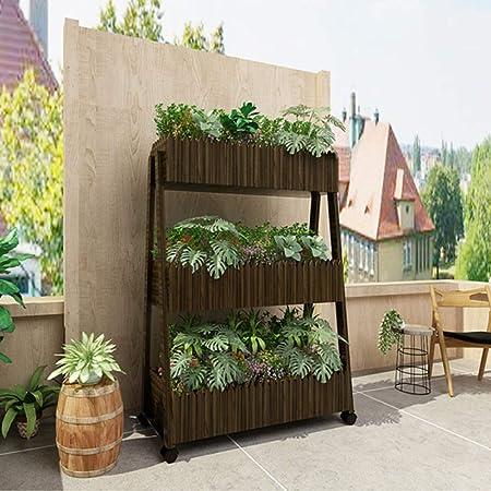 YAHAO Estantería De Macetas Estante Maceta De Plantas Soporte Decorativo para Jardín con 3 Niveles Escalera Madera (sobre Ruedas): Amazon.es: Hogar