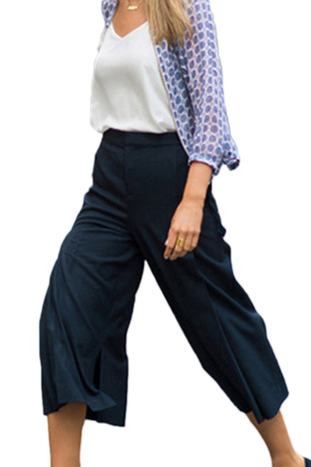 Women Elegant Solid OL Office Bootcut And Flare Wide Leg Palazzo Trousers:  Amazon.co.uk: Clothing