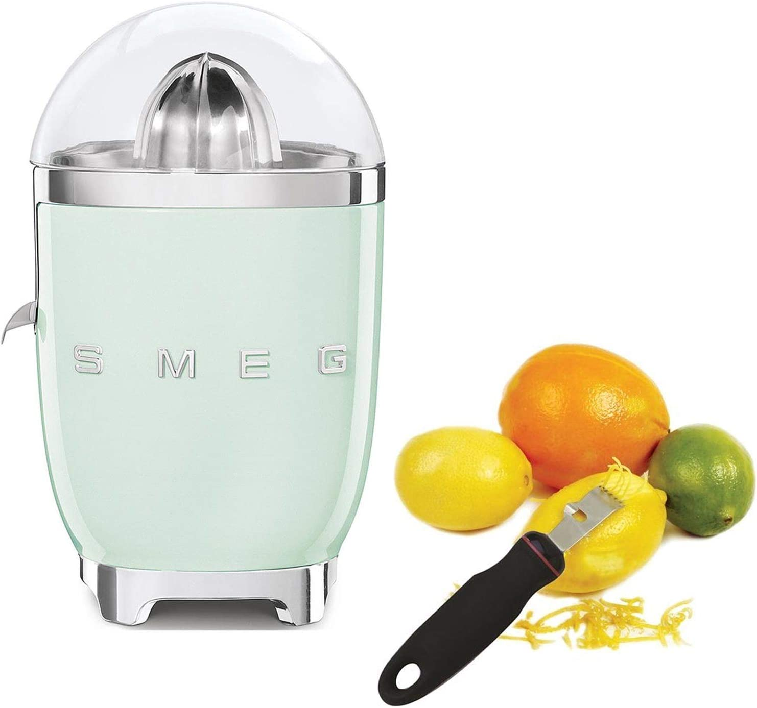 Smeg CJF01PGUS Powder Coated Vintage Style Citrus Juicer Bundle with Norpro 113 Grip-Ez Zester/Stripper - Pastel Green