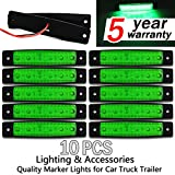 10x 6 LED Clearence Truck Bus Trailer Side Marker Indicators Light Tail Taillight Brake Stop Lamp 12V (Green)¡