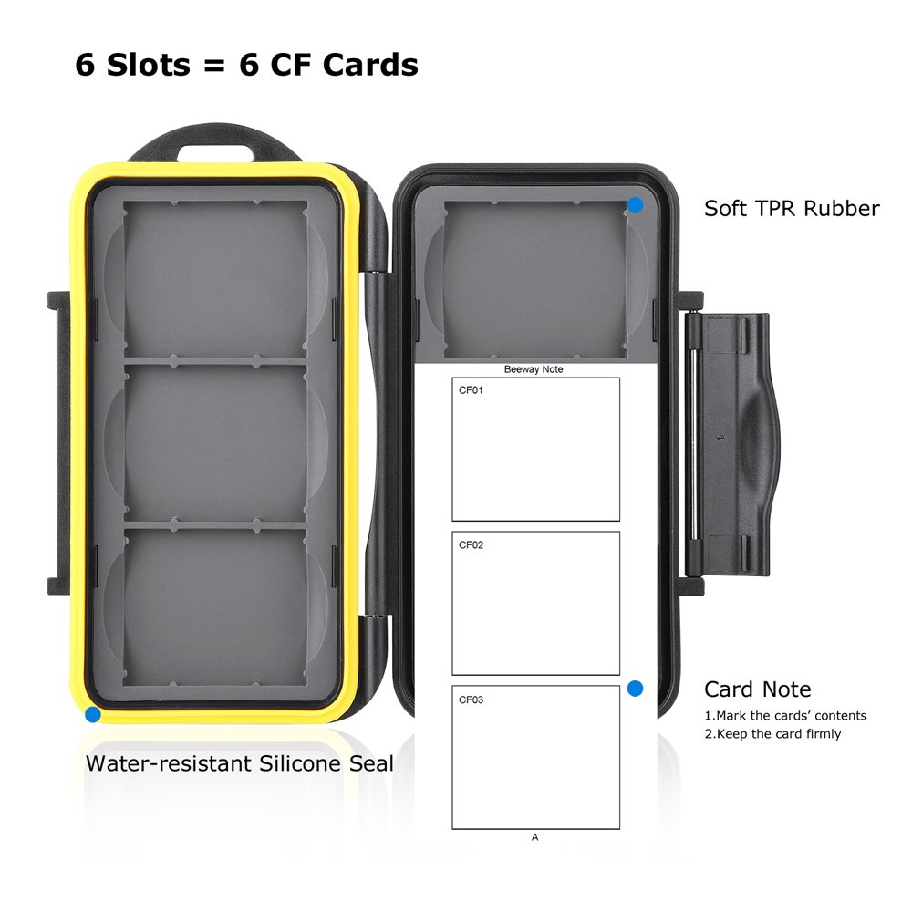 Beeway CF Card Holder 6 Slots Water Shock Resistant Protector Compact Flash Card Holder for Sandisk Transcend Lexar Kingston CF Cards with Storage Bag /& Carabiner