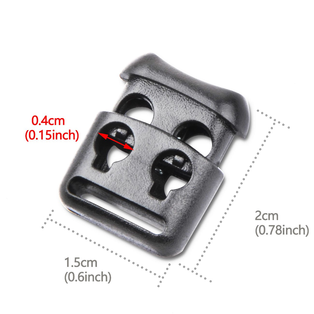 10PCS, Grey Double Hole Plastic Cord Locks End Spring Stop Toggle Stoppers Multi-Colour