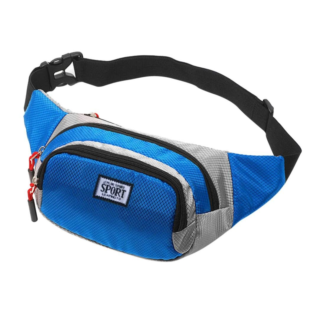 inkachウエストパックバッグ – ファッションユニセックスレザーショルダー胸バッグ – クロスボディバッグOutdoor Fanny Packs B07D6GVDWN ブルー