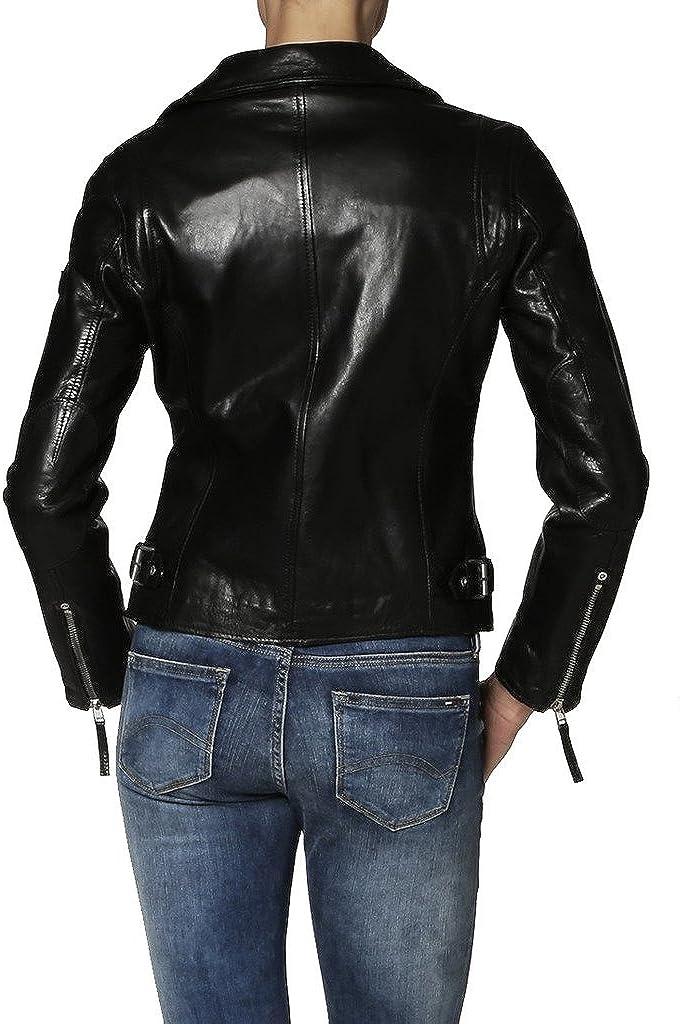 New Womens Genuine Sheep Leather Black Slim Fit Biker Jacket LTW241
