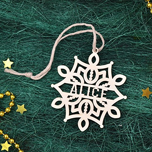 PERSONALIZED SNOWFLAKE ORNAMENT // Personalized Christmas Decoration Handmade - Engraved Wooden Snowflake - Custom Christmas Ornament