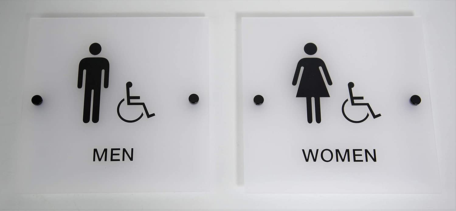 """Designer ADA Men Women Restroom Sign Set with Braille and Stand Off Mounts, 9"""" Square Frosted"""