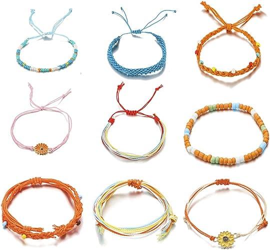 Surfer Bracelets Pura Vida Style Waterproof Bracelets Friendship Bracelets Lotus Flower Bracelet Adjustable String Bracelets