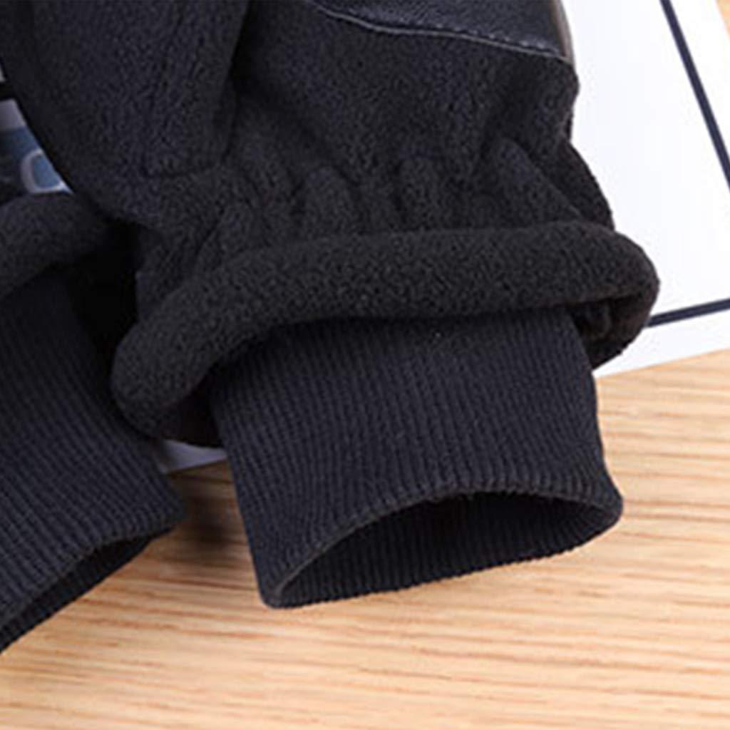 8.46x4.72in 1 Pair A# Black Men 21.5x12cm Redriver Unisex Winter Half Finger Flip Gloves,Touch Screen Fingerless Convertible Knitted Thicken Winter Mittens Men