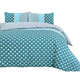 Nimsay Home Azure Seashell Fish Scales 144 Thread Count 100% Cotton Quilt Duvet Cover Bed Linen Set (Blue, King)