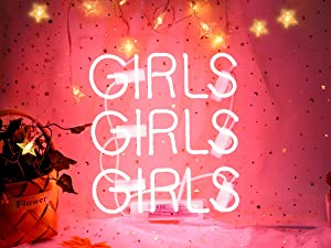 Neon Signs Girls, Pink Neon Girls Girls Girls Signs, Neon Wall Sign Light, Hanging Neon Lights, Custom Neon Words Real Neon for Wall Bedroom Room Decor Bar for Party Christmas Holiday Decoration Sign