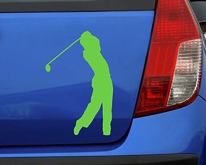 Samunshi Autoaufkleber Golfspieler Aufkleber In 7 Größen Und 25 Farben 10x6 5cm Silbermetalleffekt Auto