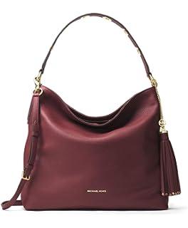 328457a5958b MICHAEL Michael Kors Brooklyn Large Pebbled Leather Shoulder Bag in Oxblood