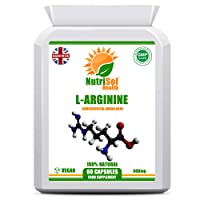 NutriSol Health L-Arginine 500mg 60 Capsules | Very Important Amino Acid | GMP Quality Food Supplement Made in The UK | Suitable for Vegetarians and Vegans