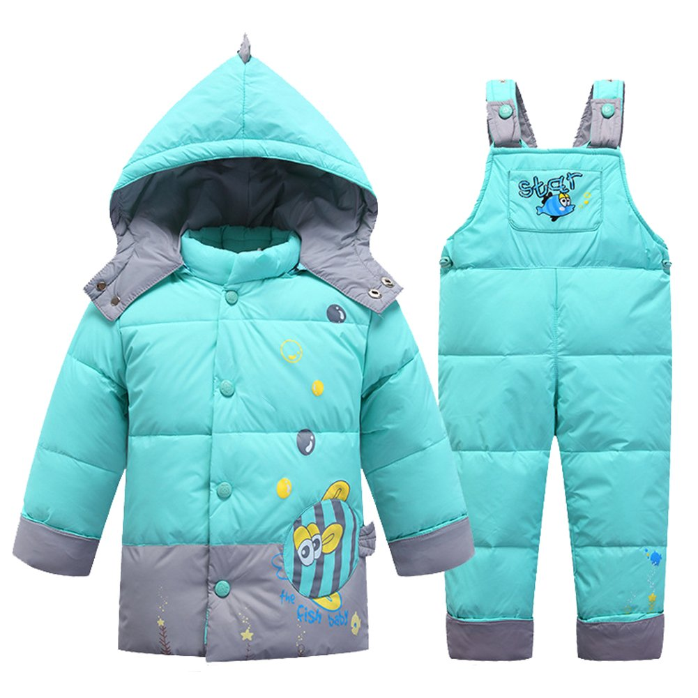 Little Girls' Winter Snowsuit Fish Printed Puffer Coat Toddler with Tail, Down Jacket (80cm, Light Blue)