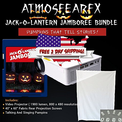 Atmosfear FX Jack-O-Lantern Jamboree SD Media Card Bundle, 1900 Lumen Projector with 800 x 460 -