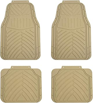 Beige TAPAM 4pc Universal Car Floor Mat for All Weather