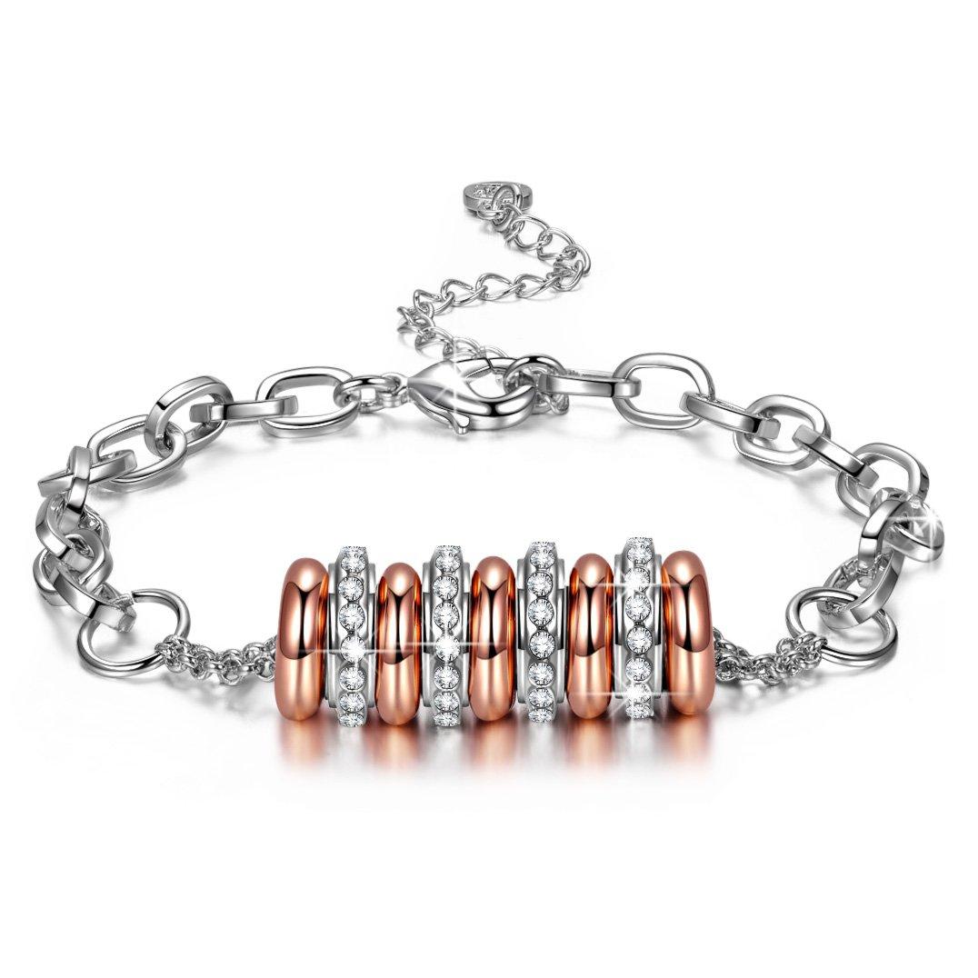 Susan Y ❤Cadeau Saint Valentin ❤ String of Happiness Bracelet Femme Chaîne à Maillons Ajustables, sans Nickel, Emballage Cadeau Chaque Moment spécial JN5692-MM
