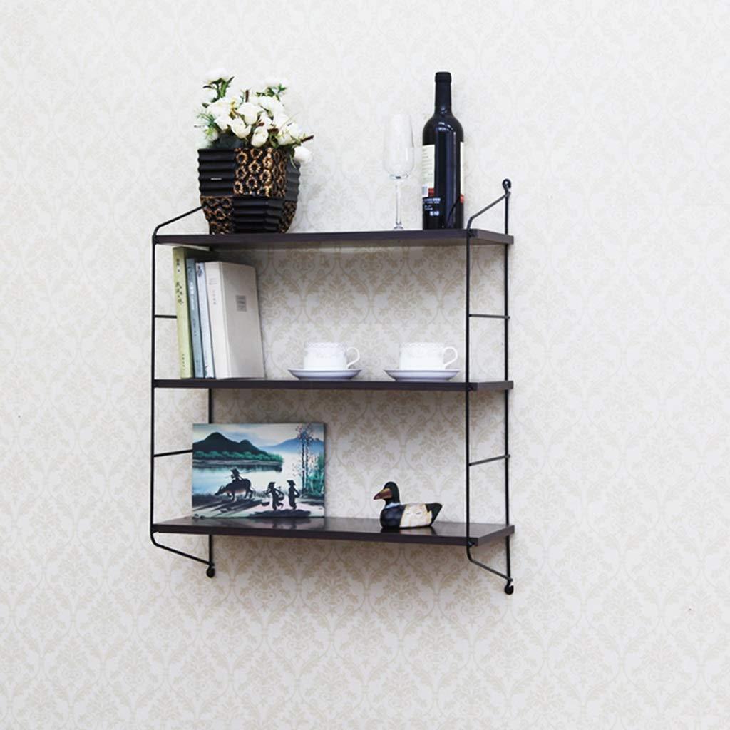 ZEZHOU ウォールシェルフ、3層クリエイティブパーティション壁掛けリビングルームバルコニー寝室の棚壁掛け棚(ブラックウォールナット、ホワイト) (色 : Black walnut) B07R7L2T8K Black walnut
