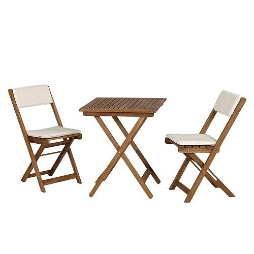Siena Garden 673122 Almeria Set De Balcon 2 Chaises Pliantes 1 Table Avec Coussin Cru