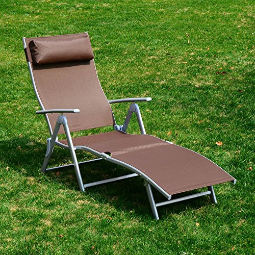 Brown Chaise Chair Pool Patio Furniture Recliner Outdoor Lounge Adjustable Lounger New Beach (Relax Lounger Costco)