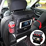 AMEIQ Seat Back Organizer for Car, Cooler with Cell Phone Mini iPad and Tissue Holder, Backseat Watertight Insulated Lunch Bag, Travel Picnic Storage Container (Deluxe-Oval)