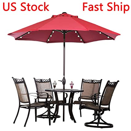 Superior LEAGUEu0026CO 9FT Deluxe Solar LED Lighted Patio Umbrella With Tilt Adjustment  ...