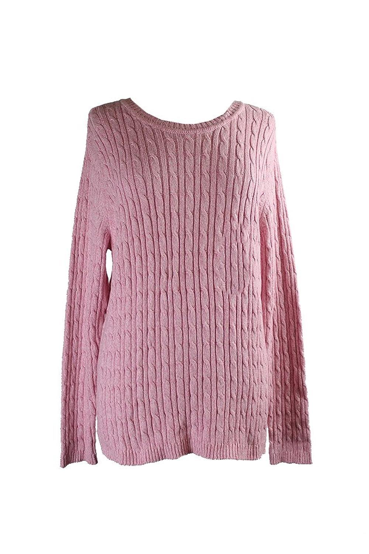 Karen Scott Pink Marled Cable-Knit Sweater M
