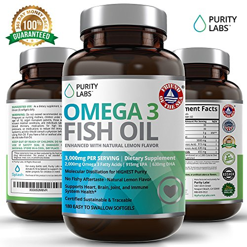 Omega 3 Fish Oil Supplement Pills - 3,000mg Per Serving 180 Count with 915MG of EPA and 630MG of DHA for Heart, Joints & Weight Management -Triple Strength, Burpless, Non-GMO, NSF-Certified - Fish Oil 3000 Mg Epa