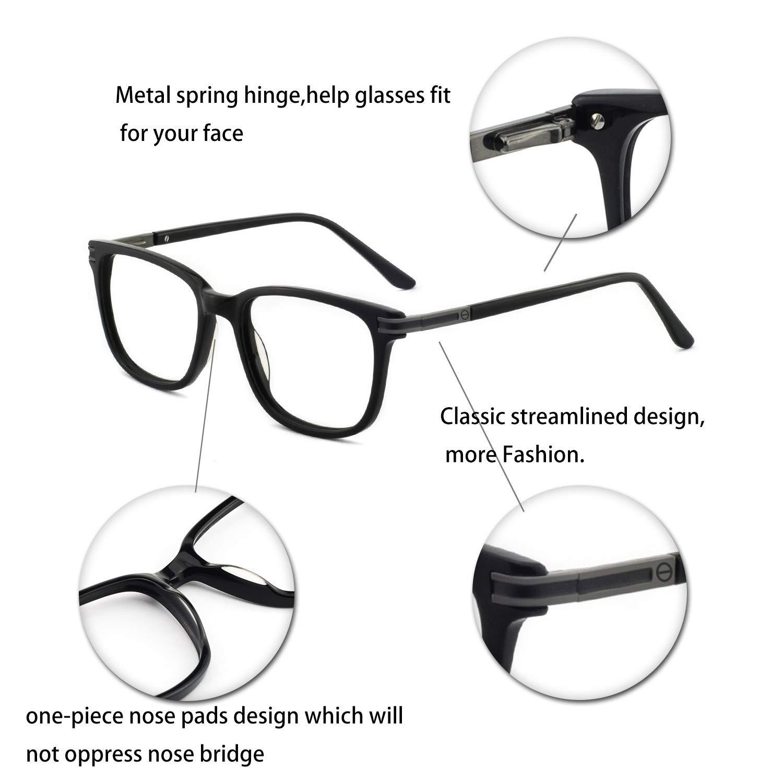 112ca98d4ad Amazon.com  Men s RX Eyeglasses Frame Fashion Non Prescription Eyewear  Rectangular Lightweight Glasses (Black 52MM)  Clothing