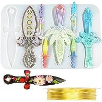 Koonafy 8 stuks zwaard epoxyharsvormen, dolkgiethars, siliconenvorm, Dagger gietvorm met koperdraad, mes gieten voor DlY…