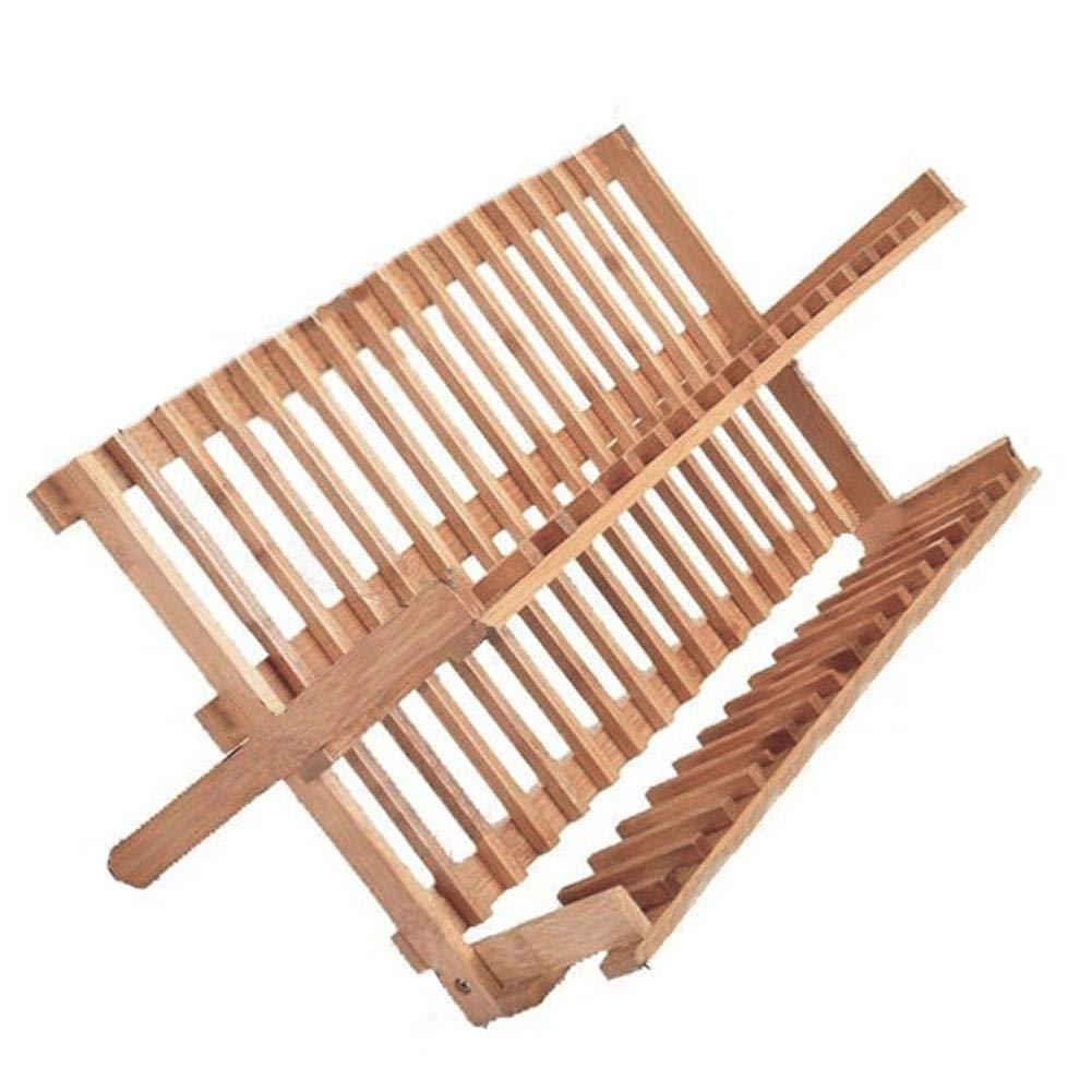 Waroomss Egouttoir /à Vaisselle en Bois,Support de s/échage de Plat Pliant en Bambou Naturel Support de s/échage de Plat en Bambou Support de s/échage en Bois de Support de Plat Pliable
