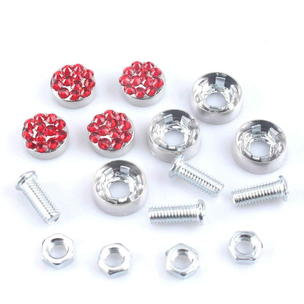 Pcs Finest 14 Facets Premium Crystal Diamond Stainless Steel License Plate Frame Bonus Matching Screws Caps JUSHACHENGTA 7 Row Handcrafted 1000