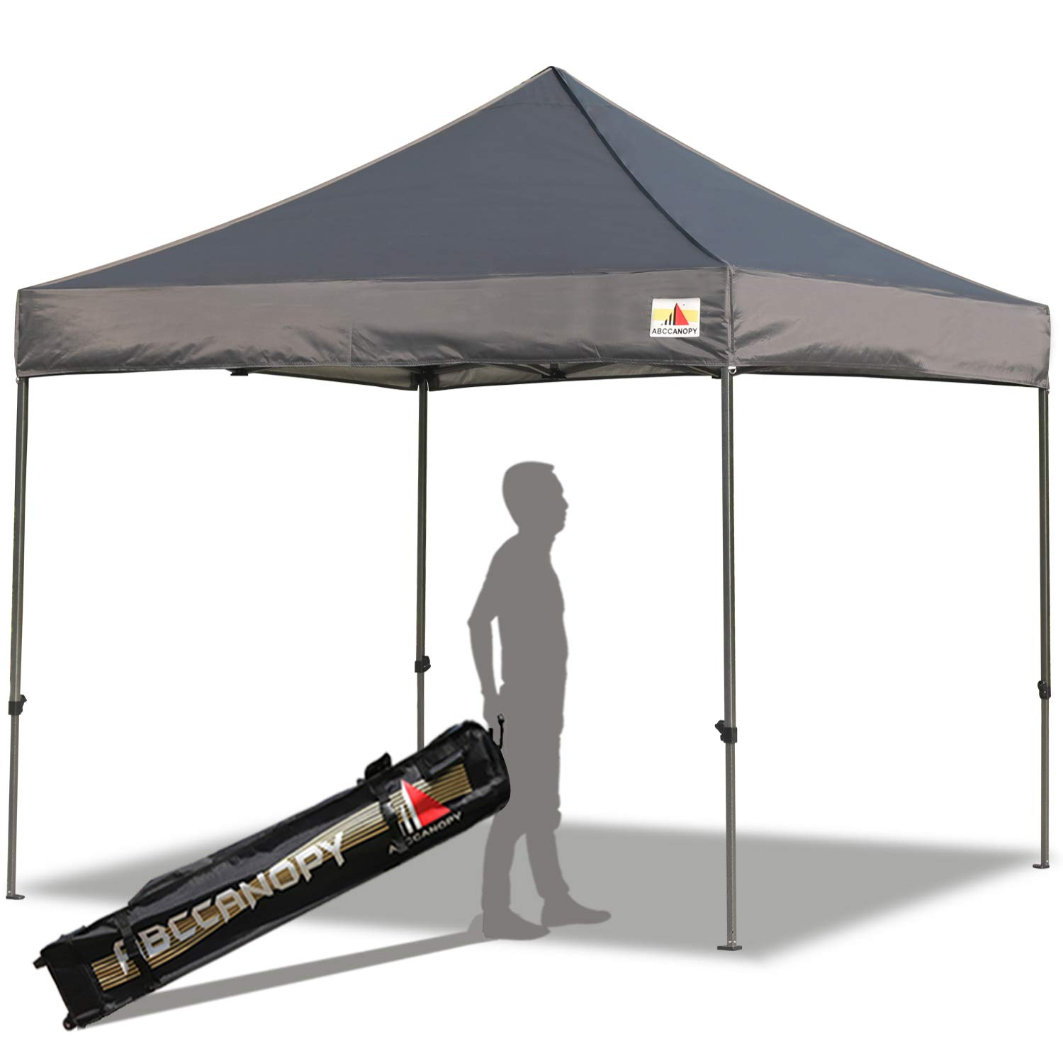 ABCCANOPY Pop up Canopy Tent Commercial Instant Shelter with Wheeled Carry Bag, 10x10 FT Dark Gray