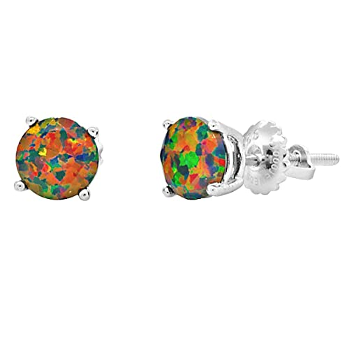 Trustmark 925 Sterling Silver 6mm Black Created Opal Faceted Screw Back Stud Earrings, Aurora