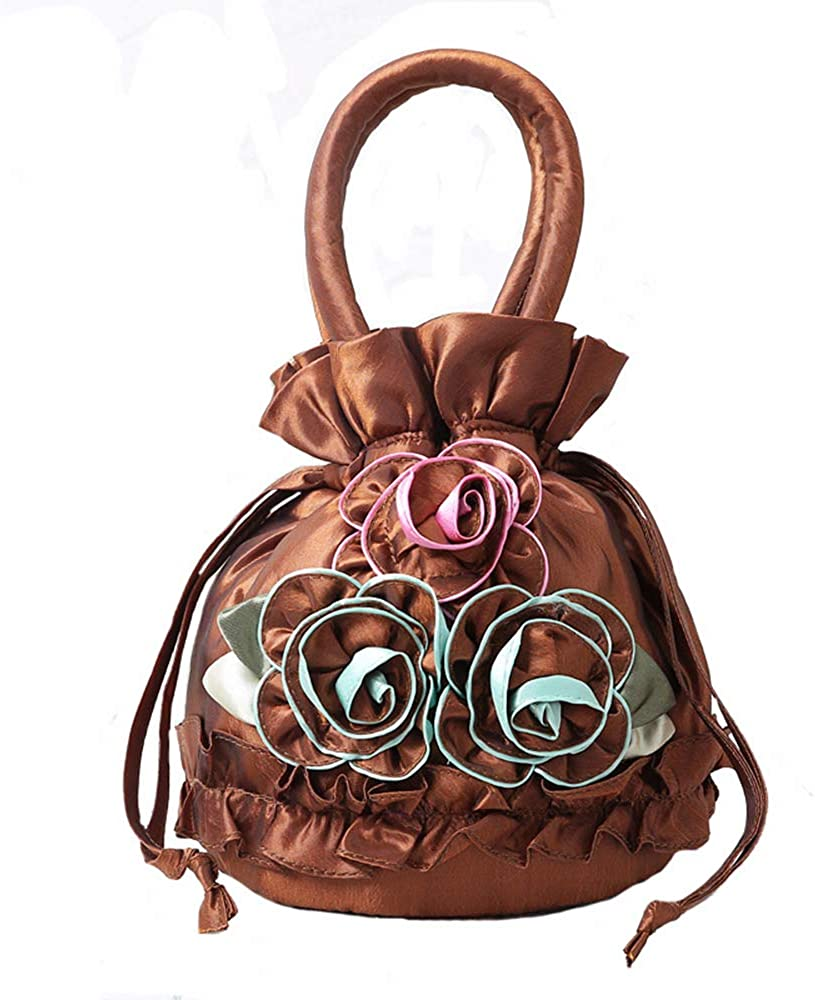 Lace Drawstring Tote Wedding Party Clutch Beautiful Flower Evening Bag for Women