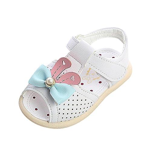 4460f2e2d PAOLIAN Zapatos para Bebes Niñas Verano Zapatos Recién Nacidos para Bebé  Primeros Pasos Pajarita y Perla Suela Blanda Sandalias para Niñas de 3  Meses 6 ...