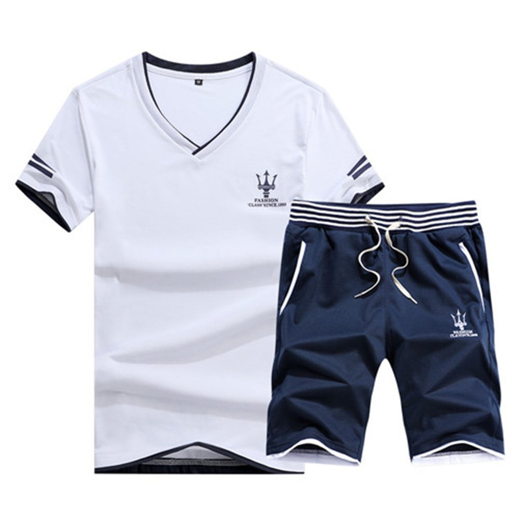 Real Spark Men's Casual Athletic Shirts & Shorts Set 2 Piece Active Tracksuit Outfit White XXS